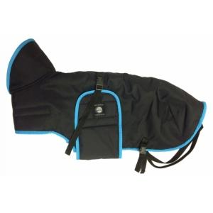 Zimní zateplená vesta s límcem - černá s tyrkysovým lemem