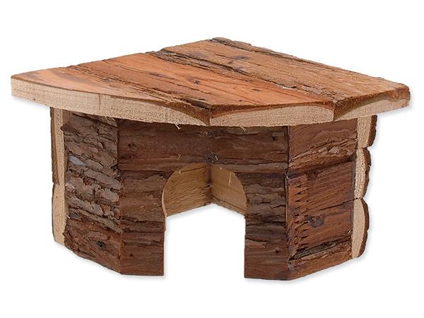 Domek Small Animals rohový dřevěný s kůrou