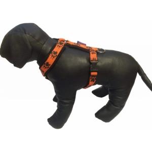 Postroj podšitý s tlapkami - oranžový/černé tlapky