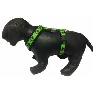 Postroj podšitý s tlapkami - zelený/černé tlapky