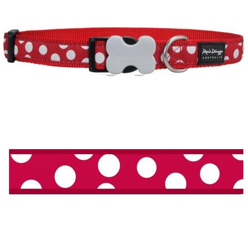 Obojek Red Dingo - White Spots on Red