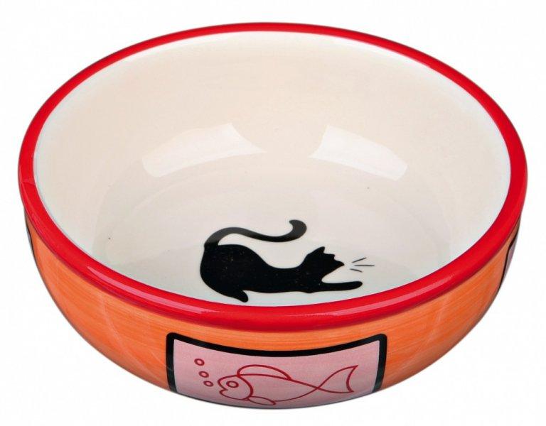 Keramická miska s kočkou a rybou, glazura