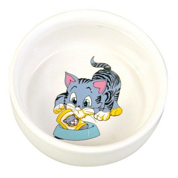 Keramická miska, malovaná, motiv kočka