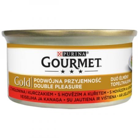 Gourmet Gold 85 g jemné kousky - hovězí a kuřecí
