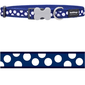 Obojek Red Dingo - White Spots on Navy