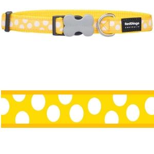 Obojek Red Dingo - White Spots on Yellow