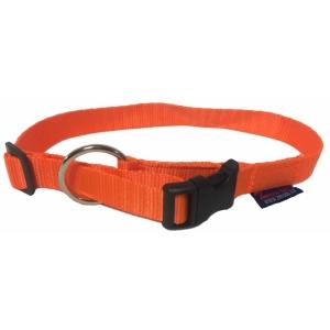Obojek nylonový s bezpečnostním kroužkem - neon oranžový
