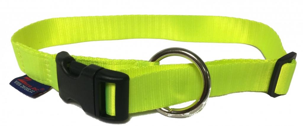 Obojek nylonový s bezpečnostním kroužkem - neon zelený