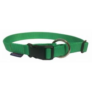 Obojek nylonový s bezpečnostním kroužkem - světle zelený