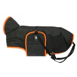 Pláštěnka černá s barevným lemem - oranžový