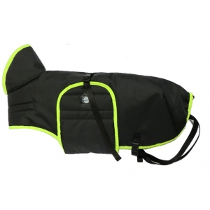 Pláštěnka černá s barevným lemem - neon zelený
