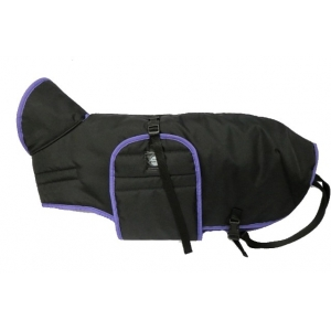 Pláštěnka černá s barevným lemem - fialový