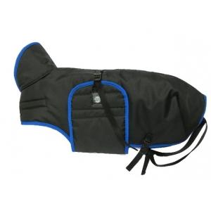 Pláštěnka černá s barevným lemem - modrý