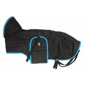 Pláštěnka černá s barevným lemem - tyrkysový
