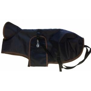 Pláštěnka černá s barevným lemem - hnědý