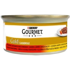 Gourmet Gold 85 g kousky v omáčce - hovězí a kuřecí v rajčatové omáčce