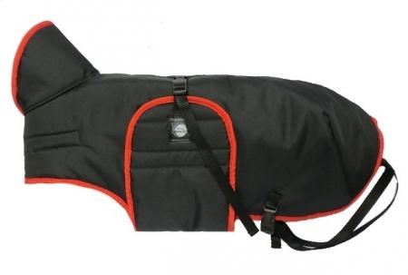 Zimní zateplená vesta s límcem - černá s červeným lemem