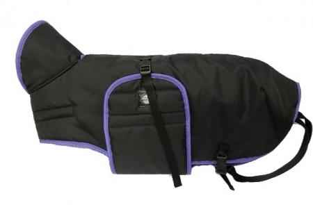 Zimní zateplená vesta s límcem - černá s fialovým lemem