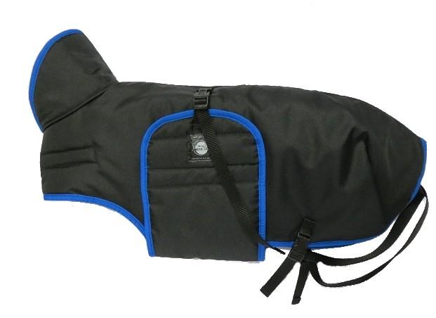 Zimní zateplená vesta s límcem - černá s modrým lemem