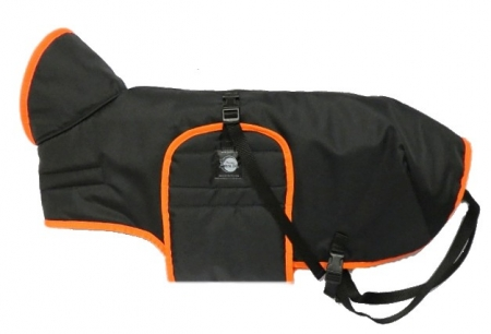 Zimní zateplená vesta s límcem - černá s neonoranžovým lemem