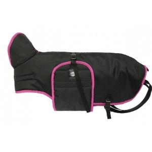 Zimní zateplená vesta s límcem - černá s růžovým lemem