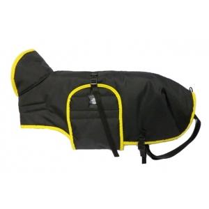 Zimní zateplená vesta s límcem - černá se žlutým lemem