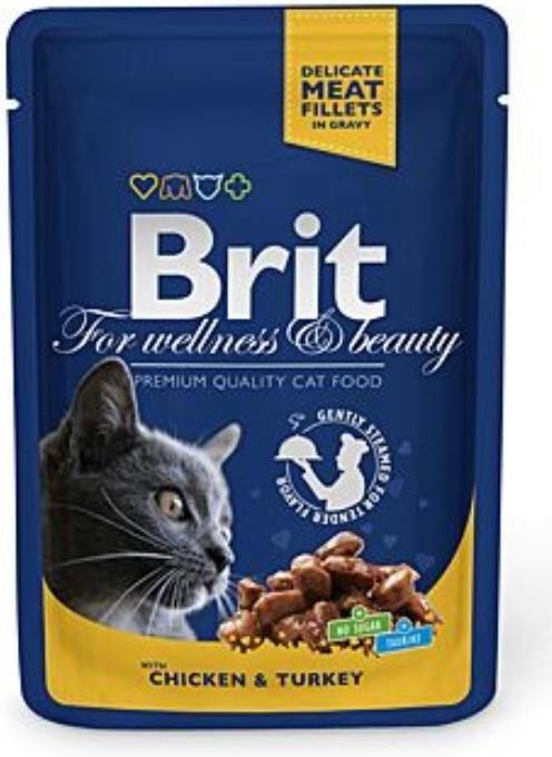 Brit Premium Cat 100 g kapsička - s kuřecím a krocanem v omáčce