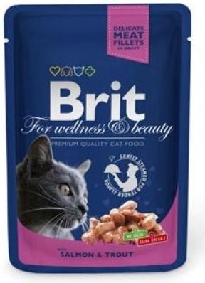 Brit Premium Cat 100 g kapsička - s lososem a pstruhem v omáčce
