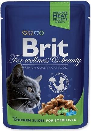Brit Premium Cat 100 g kapsička Castrate - s kuřecím v omáčce (pro kastrované kočky)