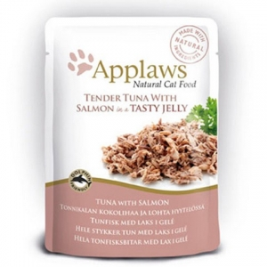 Applaws Cat kapsička Pouch Tuna Wholemeat with Salmon in jelly 70 g - tuňák a losos v želé