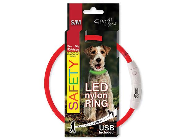 Obojek svítící LED, dobíjení USB - červený