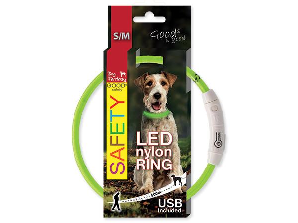 Obojek svítící LED, dobíjení USB - zelený
