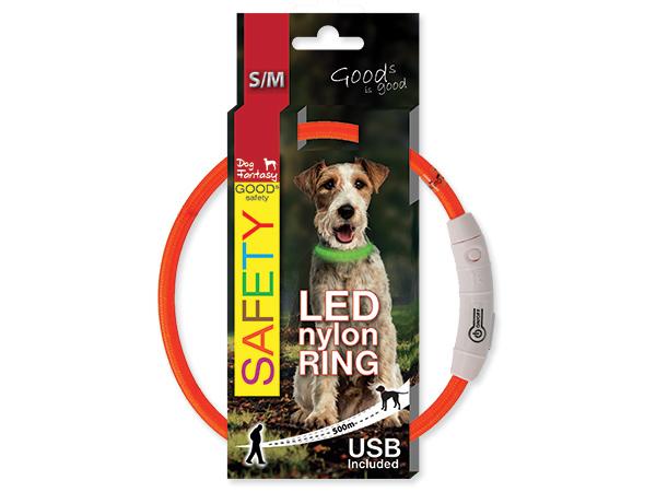 Obojek svítící LED, dobíjení USB - oranžový