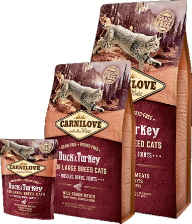 Carnilove Duck & Turkey for Large Breed Cats – Muscles, Bones, Joints (kachna & Krocan)