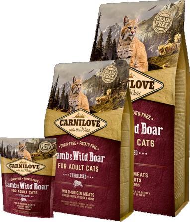 Carnilove Lamb & Wild Boar for Adult Cats – Sterilised (jehně & divočák)