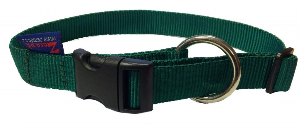 Obojek nylonový s bezpečnostním kroužkem - tmavě zelený
