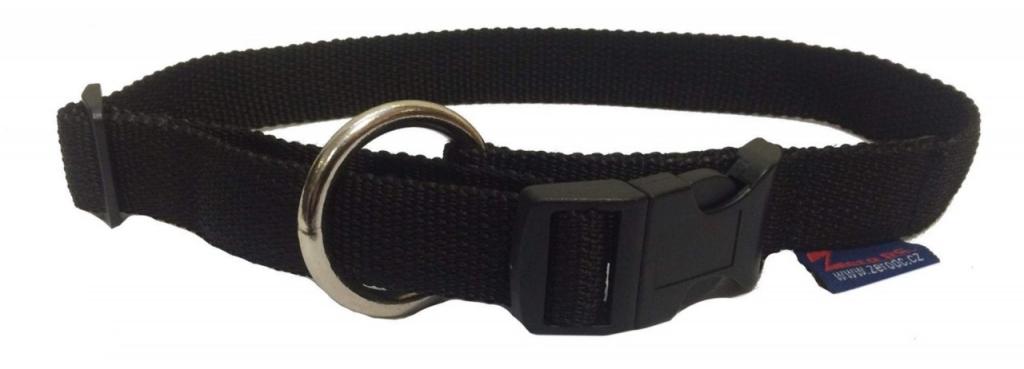 Obojek nylonový s bezpečnostním kroužkem - černý