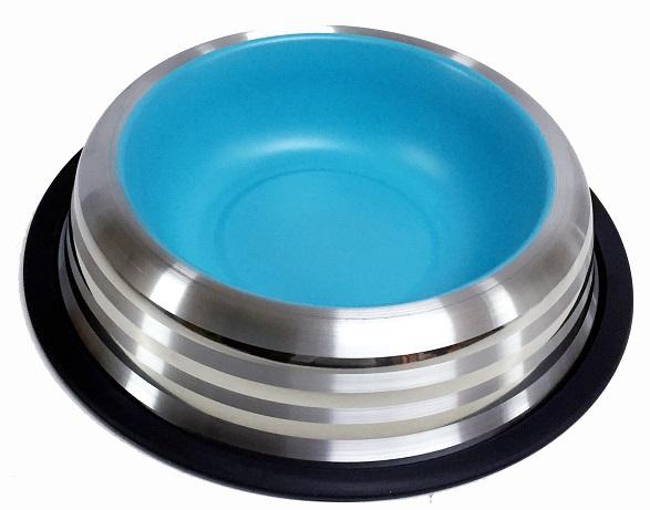 Miska nerez s gumou - modrá